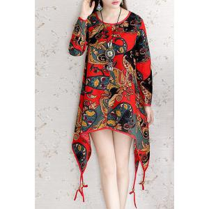 Vintage Scoop Neck Long Sleeve Printed Asymmetrical Women's Dress