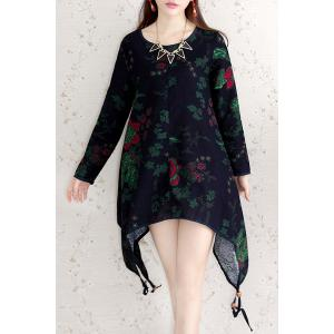 Vintage Scoop Neck Long Sleeve Floral Print Asymmetrical Women's Dress
