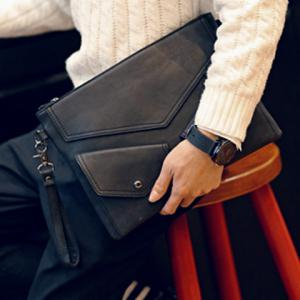 Stylish Black and PU Leather Design Men's Clutch Bag -