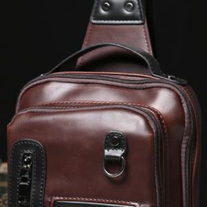 Fashionable PU Leather and Solid Colour Design Men's Chest Bag -