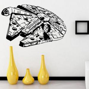 w-25 Millennium Falcon Style Removable Wall Sticker Water Resistant Home Art Decals - BLACK