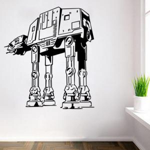 w-29 AT-AT Walker Style Removable Wall Sticker Water Resistant Home Art Decals - BLACK