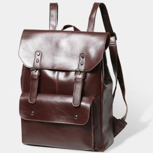 Retro PU Leather and Two Buckles Design Men's Backpack -