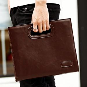 Fashionable Solid Colour and PU Leather Design Men's Clutch Bag -