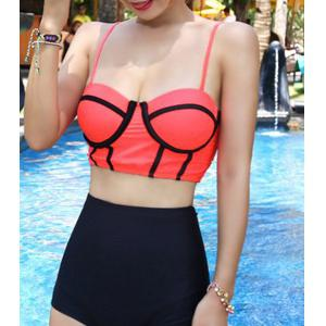Underwire High Waisted Bikini with Push Up Top - WATERMELON RED M