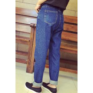 Casual Style Zipper Fly Blue Straight Leg Loose-Fitting Women's Jeans -