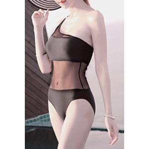 Alluring One Shoulder See-Through One Piece Swimsuit For Women -