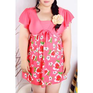 Refreshing Square Collar Flower Print Short Sleeve Swimsuit For Women