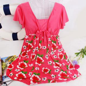 Refreshing Square Collar Flower Print Short Sleeve Swimsuit For Women -