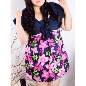Refreshing Square Collar Flower Print Self-Tie Short Sleeve Swimsuit For Women