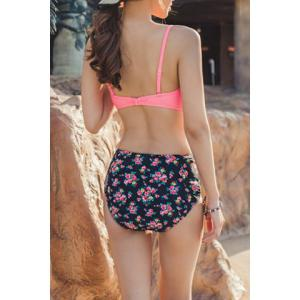 Chic Spaghetti Strap High-Waisted Floral Print Women's Bikini Set -