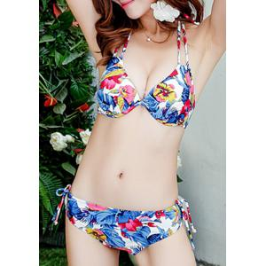 Attractive Hollow Out Halter Floral Printed Three-Piece Bikini For Women -