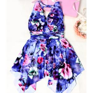 Sweet Floral Printed Backless Handkerchief One-Piece Swimwear For Women -