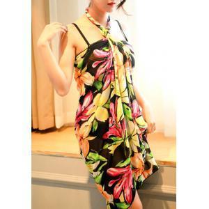 Charming Colorful Printed Bra and Briefs and Cover-Up Three-Piece Swimwear For Women -
