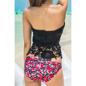 Push Up Floral Lace Panel Tankini With Underwire -