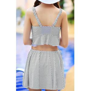 Cute Polka Dot Printed Hollow Out Mini Dress and Boxers Twinset Swimwear For Women -