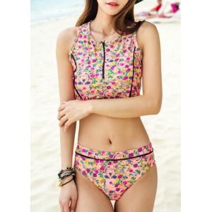 Chic Floral Printed Zip Up Tank Top and Briefs Two-Piece Swimwear For Women - Pink - Xl