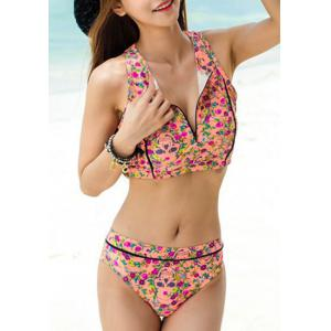 Chic Floral Printed Zip Up Tank Top and Briefs Two-Piece Swimwear For Women - PINK M