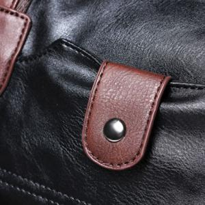 Concise PU Leather and Rivets Design Men's Messenger Bag -