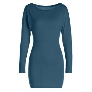 Sexy Skew Neck Long Sleeve Slimming Solid Color Women's Dress - Deep Green - L