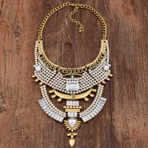 Vintage Rhinestone Faux Crystal Geometric Hollow Out Necklace For Women -