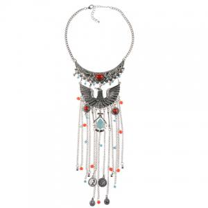 Vintage Phoenix Shape Hollow Out Coin Beads Pendant Necklace For Women