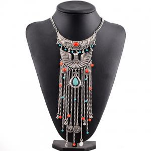 Vintage Phoenix Shape Hollow Out Coin Beads Pendant Necklace For Women -
