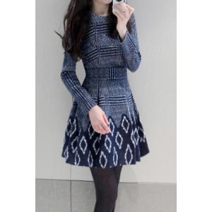 Stylish Round Neck Long Sleeve Printed Women's Flare Dress -