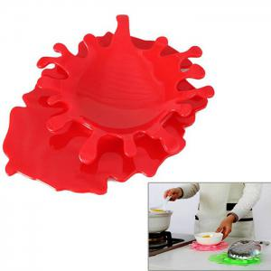 2 in 1 Creative Splash Tomato Sauce Style Spoon Utensil Holder Bottle Cup Pad - RED