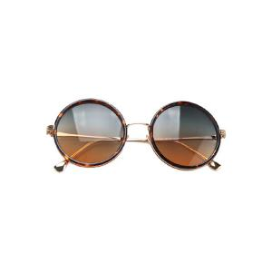 Chic Retro Leopard Metal Round Sunglasses For Women -