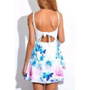 Tied Spaghetti Strap Floral A Line Dress - White - L