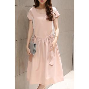 Casual Style Scoop Collar Short Sleeve Adjustable Waist Color Block Women's Dress