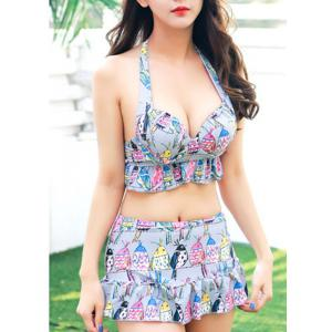 Alluring Women's Halter Print Colorful Two Piece Swimwear -
