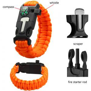5 in 1 Outdoor Paracord Bracelet / Fire Starter / Whistle / Compass - Orange - L