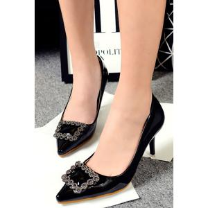 Stylish Square Buckle and Solid Color Design Women's Pumps -
