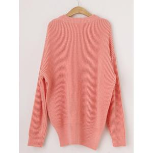 Stylish Women's Round Neck Long Sleeve High Furcal Sweater -