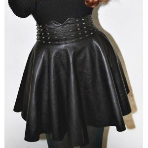 Stylish High-Waisted Studded Ball Gown Women's PU Skirt