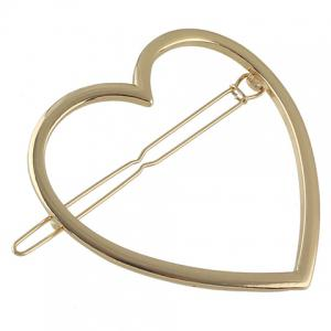 Simple Style Solid Color Heart Hairgrip For Women - GOLDEN