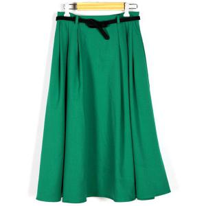 Vintage Green High Waist Pleated A-Line Midi Dress For Women -