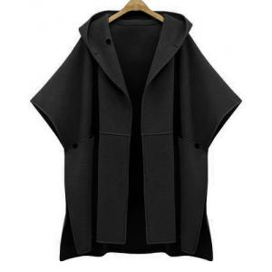 Stylish Women's Hooded Bat Sleeve Pure Color Cape Jacket - Black - Xl