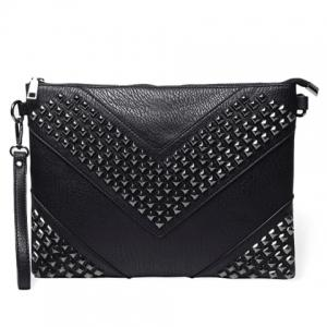 Stylish Rivets and Black Design Men's Clutch Bag - Black