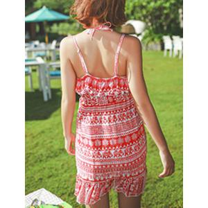 Bohemian Halter Flounced Printed Three-Piece Swimsuit For Women -