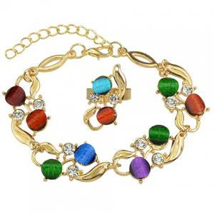 A Suit of Faux Crystal Alloy Necklace Bracelet and Earrings - COLORMIX