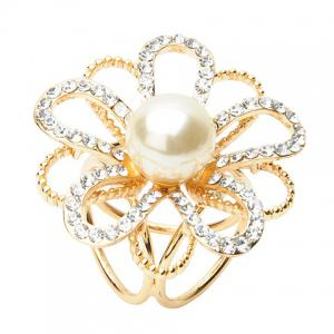 Floral Hollow Out Faux Pearl Rhinestoned Scarf Buckle Brooch -