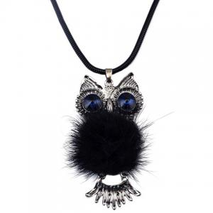 Stunning Rhinestone Plush Owl Shape Sweater Chain For Women -