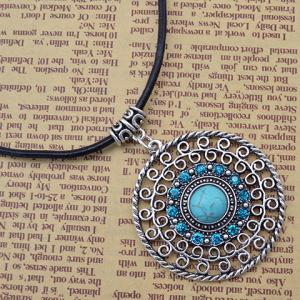 Rhinestone Faux Turquoise Hollow Out Necklace -