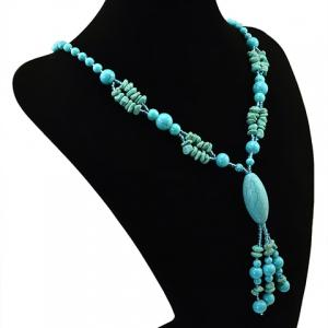 Bohemian Style Faux Turquoise Oval Beads Necklace -