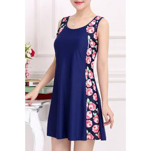 Stylish Scoop Neck Sleeveless Floral Print One-Piece Swimsuit For Women - PURPLISH BLUE 4XL