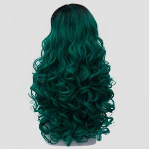 Trendy Long Synthetic Fluffy Curly Stunning Black Ombre Green Cosplay Wig For Women -