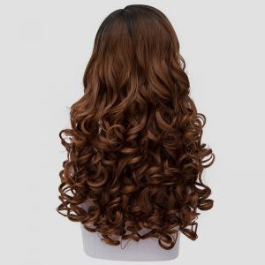 Stunning Black Ombre Brown Synthetic Vogue 60CM Long Curly Cosplay Wig For Women - BLACK/BROWN